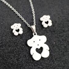 Silver Hollow Heart Cute Bear Pendant Necklace Earrings Stainless Steel Woman
