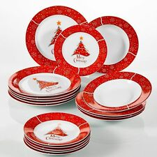 18pcs Dinner Set Dining Plates Party Crockery White Red Christmas Tree Xmas Gift