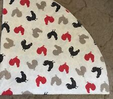 """70"""" Diameter Circle Vinyl Tablecloth Chickens Ivory Black Red Gray Wipe Clean"""