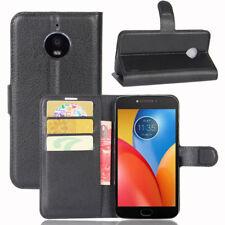 Cuero Artificial Negro Libro Cartera Funda con Soporte para Motorola Moto E4