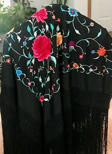 Fine Antique Chinese Black Double Side Hand Embroidered Silk Floral Piano Shawl