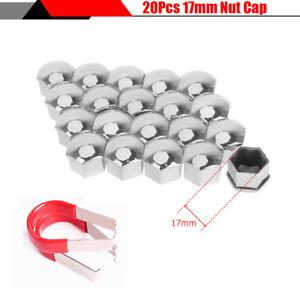 20Pcs 17mm Silver Plastic Wheel Lug Nut Cover Bolt Caps For Auto Car Modified