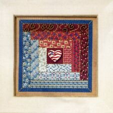 Log Cabin Quilt Cross Stitch Kit Mill Hill 2011 Buttons & Beads Autumn