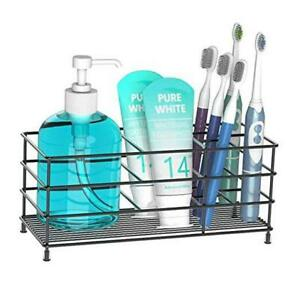Toothbrush Holder, High Capacity Stainless Steel Toothbrush Holder with 7 Black