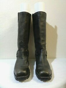 FRYE BLACK DISTRESSED LEATHER RUGGED SOLE FLAT HEEL HARNESS BOOTS 8.5 B