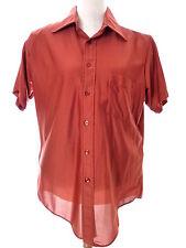 Vintage 100% Nylon MENS Rust Brown Short Sleeve Button Shirt M