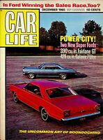 Vtg Original Car Life Magazine POWER CITY Two New Super Fords December 1965 m918