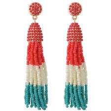 Boucles d'Oreilles Doré Tassel Pompon Mini Perle Multicolore Rouge Blanc AA22
