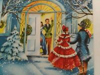 UNUSED Vtg COUPLE at Moving DOOR Opens Mid Century CHRISTMAS GREETING CARD