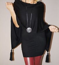 NEU Angesagtes Twin Set Strick Long Shirt + Poncho M 36 38 Schwarz Herbst Trend