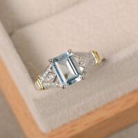 18K White Gold 1.70 Ct Natural Diamond Emerald Real Aquamarine Ring Size N J O45
