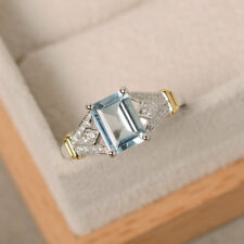 18K White Gold 1.70 Ct Natural Diamond Emerald Cut Real Aquamarine Ring Size N J