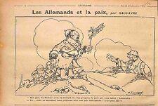 Soldats Soldiers Feldgrauen Paix Individuelle Poilus  Dessin Sauvayre WWI 1916