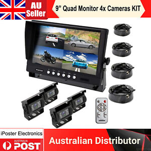 "9"" Quad Splitscreen Monitor 4PIN IR Rear View Reversing Camera Kit Truck Trailer"