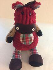 Jellycat Corduroy Horse Pony Plush Stuffed Animal Red Green Patchwork Plaid