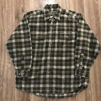 Vintage Field & Stream Green Checker Plaid Heavy Cotton Flannel Shirt Sz Large
