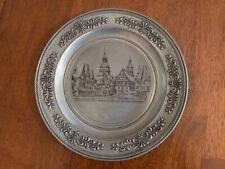 Vintage Decorative German Pewter Plate with Angel Mark; German scene/Künzelsau
