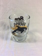 Vintage Sea World Shot Glass Shamu Orca Killer Whale 1980 Florida Collectible