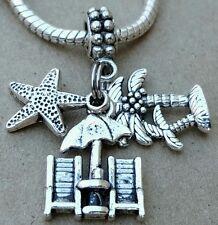 1P Summer Beach Vacation Chairs Palm Tree Ocean Sea Starfish European Bead Charm