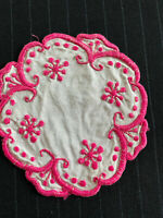"Vintage Round Hand Embroidered Doily, Pink White 6"" Diameter, FREE SHIPPING"