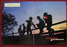 1998 Print Ad Marlboro Man Cigarettes ~ Five Western Cowboys on Fence at DUSK