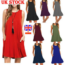 Ladies Plus Size Flared Holiday Dress Women Loose Vest Top Swing Skater Sundress