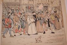 JOB- HENRI IV GRAVURE DESSIN  HERMANT 1894 DEFENSE DE PARIS PROCESSIONS MOINES