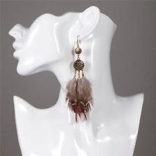 Vintage Women Coffee Feather Drop Dangle Ear Fashion Jewelry Hook Earrings