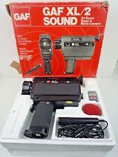 Vintage Gaf XL/2 Sonido Super 8 Película de Cámara 2:1 Zoom Con Micrófono Y Caja/Sin Probar