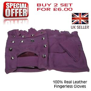 Mens Purple Conical Studded Soft Leather Fingerless Warm Biker Driving Cycling