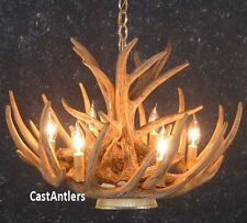 Cast Cascade Whitetail 9 Antler Chandelier W/Downlight Made In USA