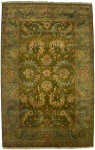 Vintage Style Olive Green Floral 6X9 Agra Jaipur Oriental Rug Handmade Carpet