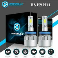 IRONWALLS H11 H9 H8 LED Headlight Bulb Kit Low Beam Turbo Fog Light 2000W 6500K