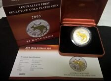 2003 ONE DOLLAR SILVER PROOF COIN -*SELECTIVELY GOLD PLATED*-*KANGAROO*