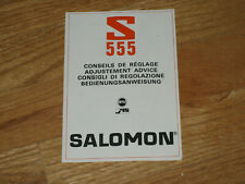 Salomon S555  Brochure User Instructions Skiing  Downhill Cross Country Vintage