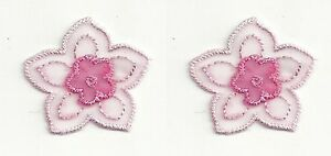 2 pc Pink Fuchsia 2 Layer Organza Flower Floral Embroidery Patch