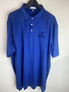 Peter Millar Summer Comfort Golf Polo Blue St Andrews The Old Course XXL