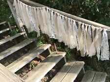 🇺🇸vintage lace and sheer two tone Ivory wide rag tie garland fall wedding rt5