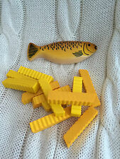 Wooden Play Food - Set of Kipper Fish and Chips - Lunch Fast Food Role Play Toys