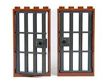 Lego barred door gate 4x6 Brown Dark Grey x2 Castle prison MYSTERE Allegheny Bars *