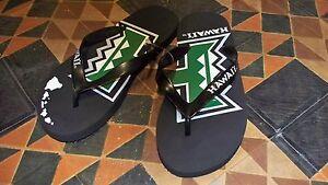 Women's UNIVERSITY OF HAWAII Flip Flops Slippers Black w/Split Logo NEW