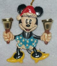 New listing Disney Hallmark Xmas Ornament Playful Minnie Mouse Santa Bell Ringing Pull Toy