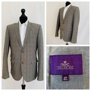 Next Jacket Blazer Mens Chest 42 Slim Fit Grey Check Plaid 100% Cotton  P48