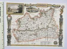 """Old Antique colour map Surrey, England: c1830's: Moule: 9.5"""" x 12"""" Reprint"""