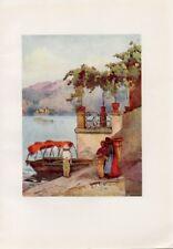 Stampa antica LAGO DI COMO BARCA in PARTENZA DAL MERCATO 1905 Antique print