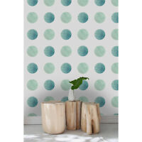 Watercolor dots Removable wallpaper green and white wall mural reusable