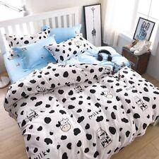 Cartoon Milk Cow Printing Bedding Set Duvet Cover+Sheet+Pillow Case Four-Piece