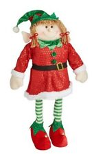 "Posable Elf Girl Plush Figure Window  Christmas Display Lg 30"" Elf Nutcracker"