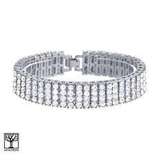 "Men's Women's Fashion Silver Toned CZ Stoned Bling 4 Row 8"" Bracelet NB 04 S"