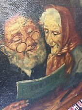 Antique Portrait Painting Oil on Canvas of a couple reading. Signed: Heath 1927